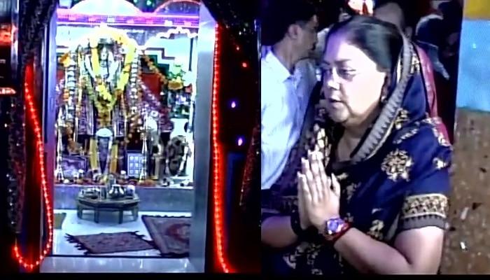 राजस्थान की सीएम वसुंधरा राजे ने तनोट माता मंदिर में की विशेष पूजा