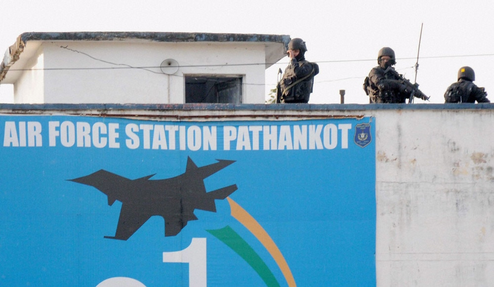 Security personnel guarding inside the Pathankot