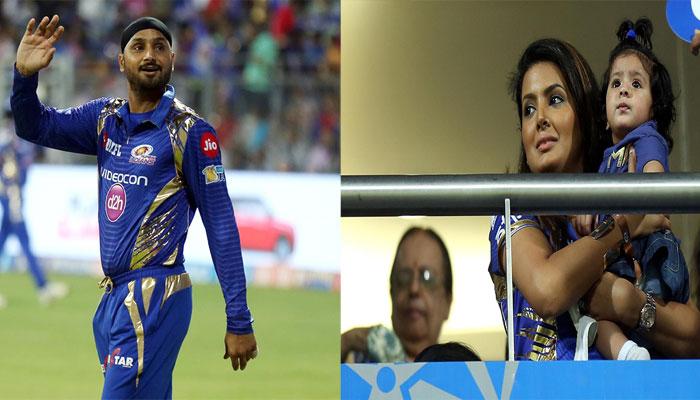 IPL-10: स्टेडियम में बेटी के साथ मौजूद थी गीता बसरा, हरभजन सिंह ने इस अंदाज़ में जताया प्यार