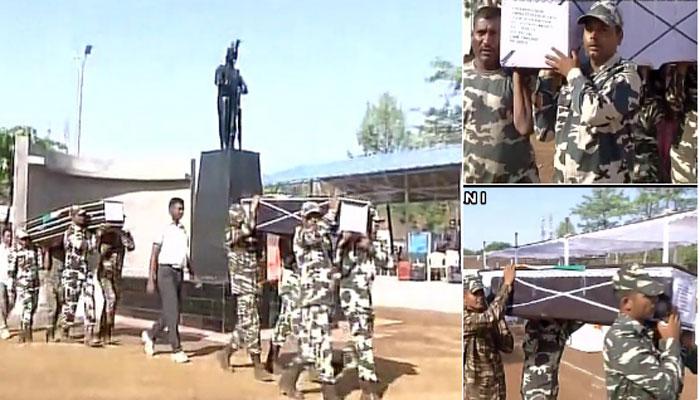 सुकमा हमले में शहीद 25 जवानों के पार्थिव शरीर रायपुर लाए गए