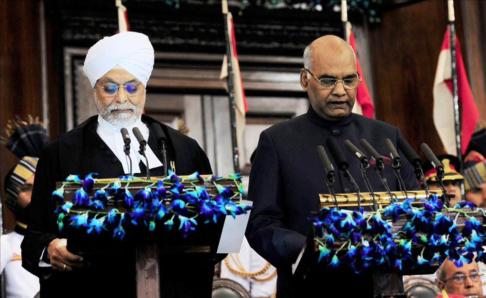 Ram Nath Kovind at a swearing-in ceremony in the central hall of Parliament
