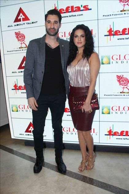 Actress Sunny Leone along with her husband Daniel Weber during the