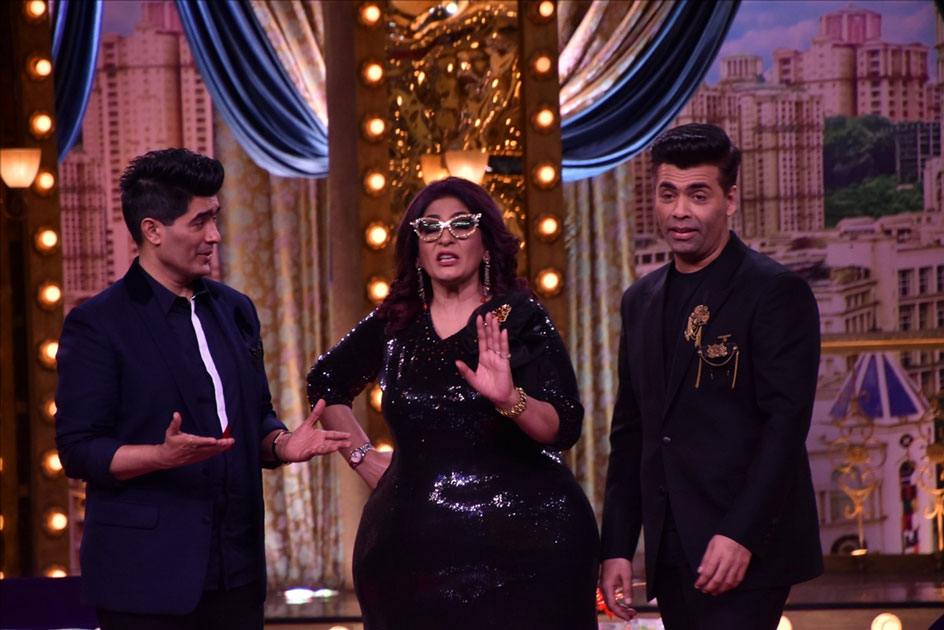 Fashion Designer Manish Malhotra, actress Archana Puran Singh and Director Karan Johar on the sets of live game show