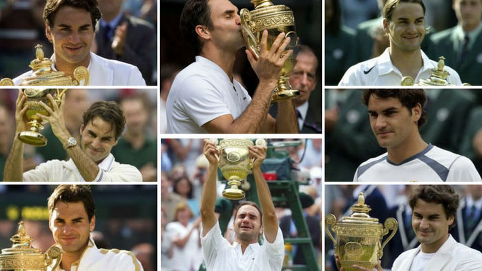 Roger federer with his eight Wimbledon titles