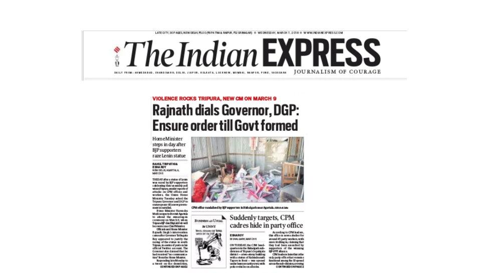 Home Minister Rajnath Singh speaks to Tripura's governor