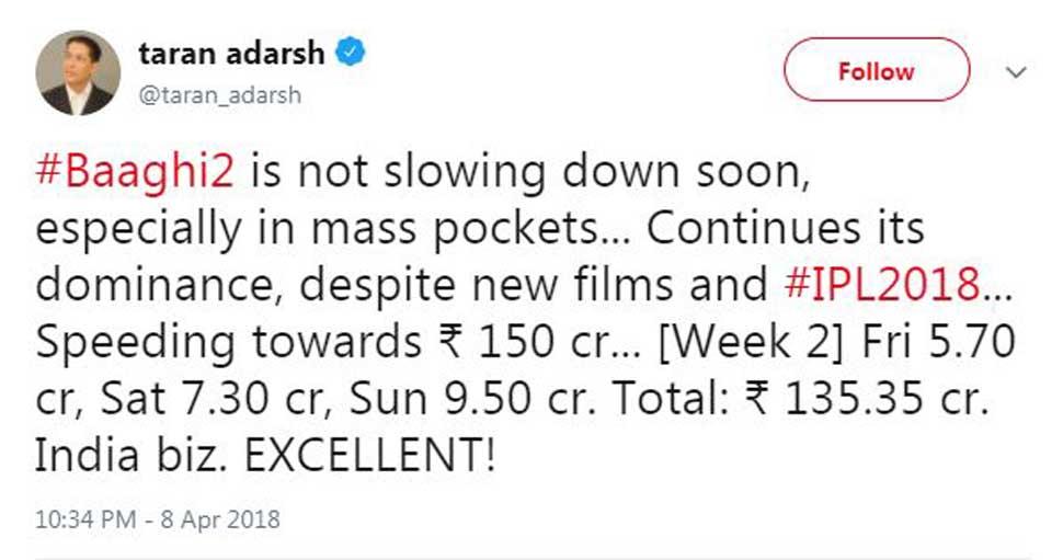Baaghi 2 earns 150 crore