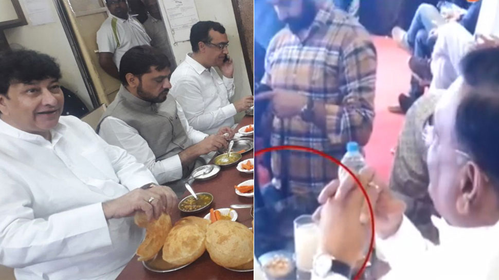 Congress leaders eating before starting their fast, pics viral on social media