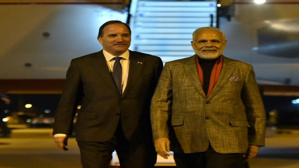 pm narendra modi welcomed by swedish prime minister stefan lofven