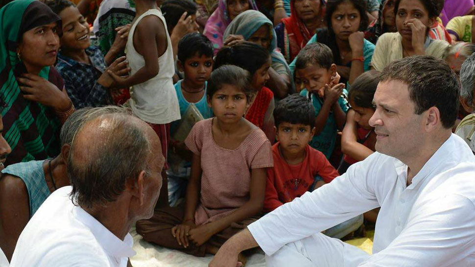 Congress President Rahul Gandhi interacts with the residents of Urer in Amethi