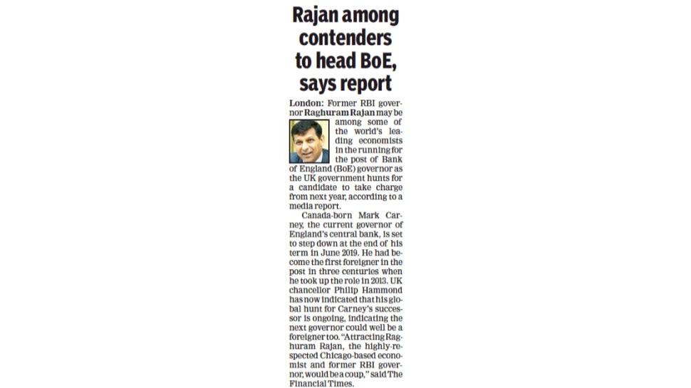 Raghuram rajan may become governor of Bank of England