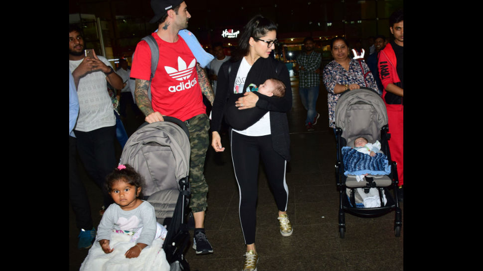 Sunny Leone first public appearance with her all her three kids see pics