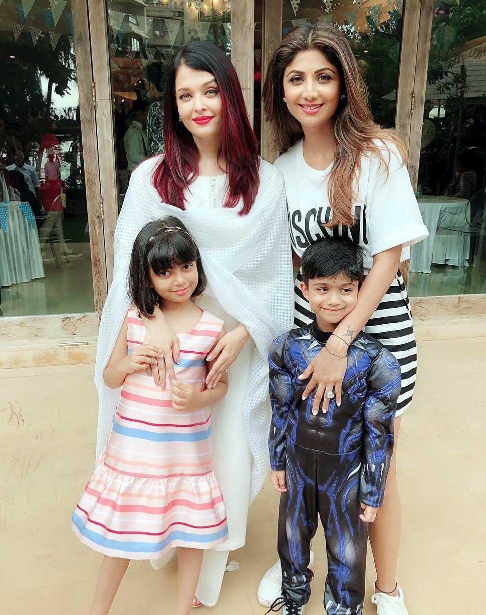 Aishwarya Rai Bachchan with Daughter attends Shilpa Shetty's son's birthday Party