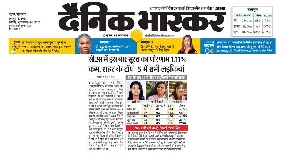 CS results out, girls are in top 5 in surat
