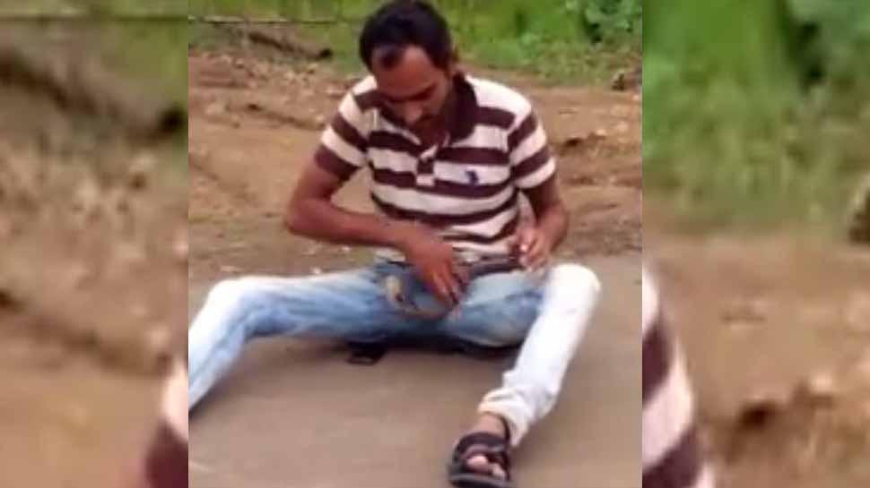 गुजरात : सांप के साथ मस्ती पड़ गई युवक को भारी, देखें VIDEO