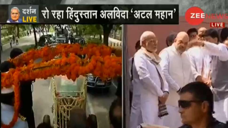 Atal Bihari Vajpayee mortal taken to BJP Headquarter