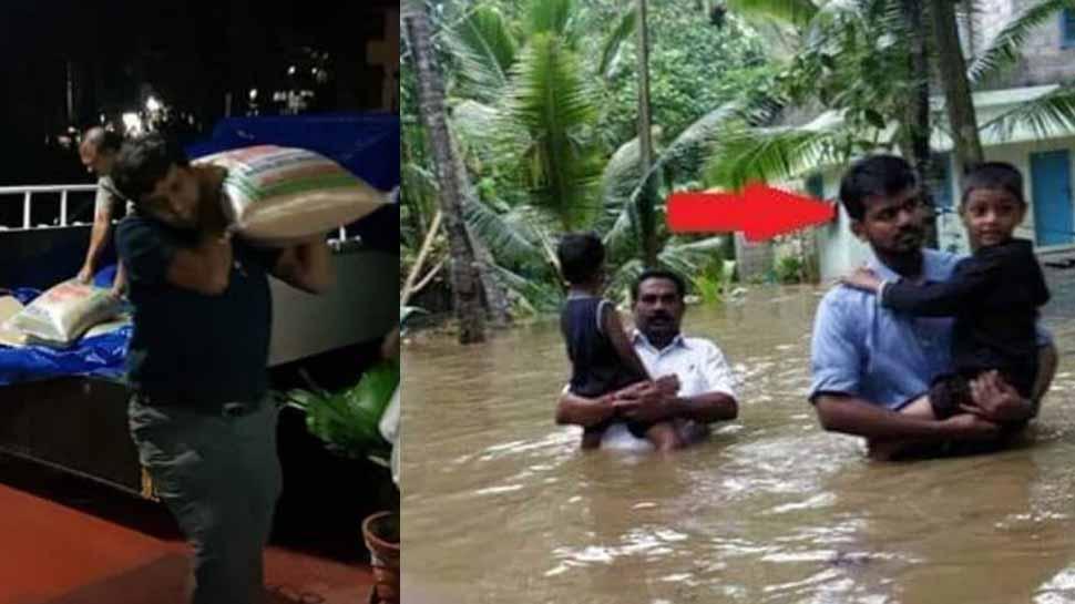 केरल की बाढ़ में IAS अफसरों ने पेश की मिसाल:  भरे पानी में बच्चे कंधे पर उठाए, बाेरियां भी ढोईं