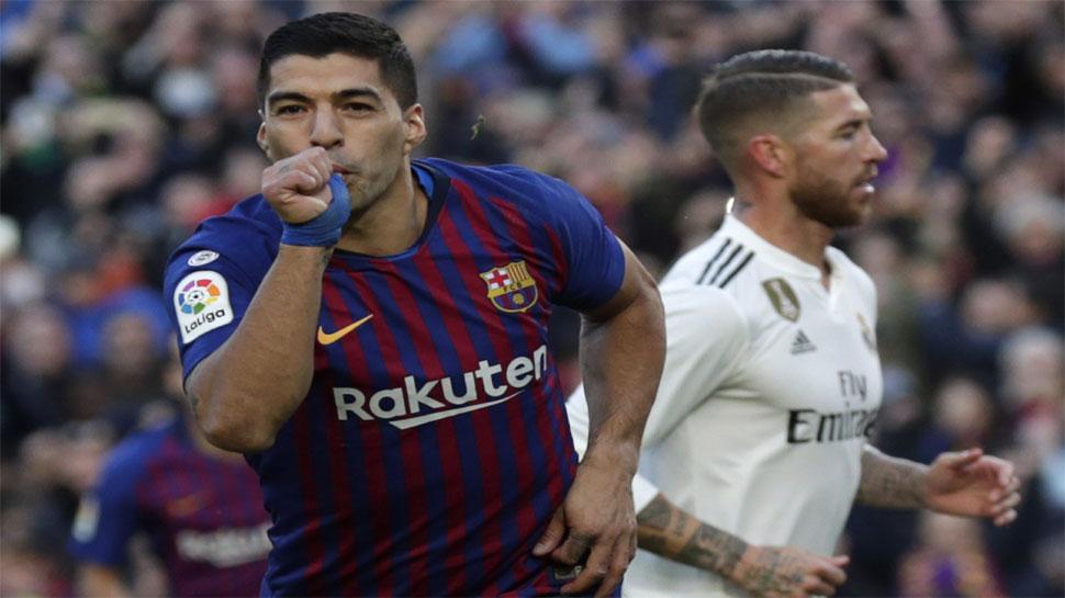 स्पेनिश लीग : सुआरेज की हैट्रिक से बार्सिलोना ने जीता एल क्लासिको