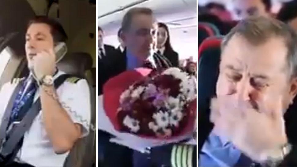 VIDEO: फ्लाइट में बैठे थे पायलट के स्कूल टीचर, भावुक मुलाकात देख यात्री भी रो पड़े