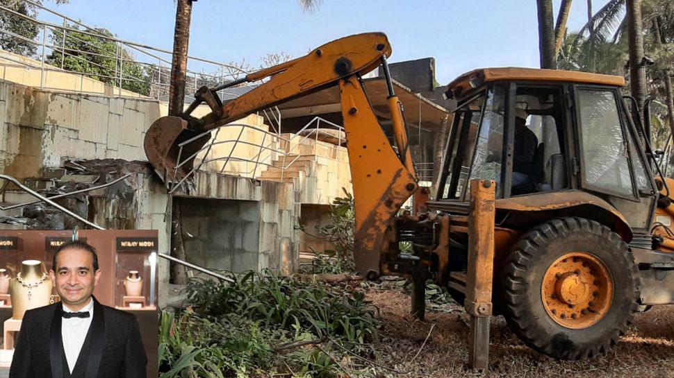 नीरव मोदी का बंगला गिराने में जेसीबी फेल, ब्लास्ट से तोड़ी जाएगी इमारत
