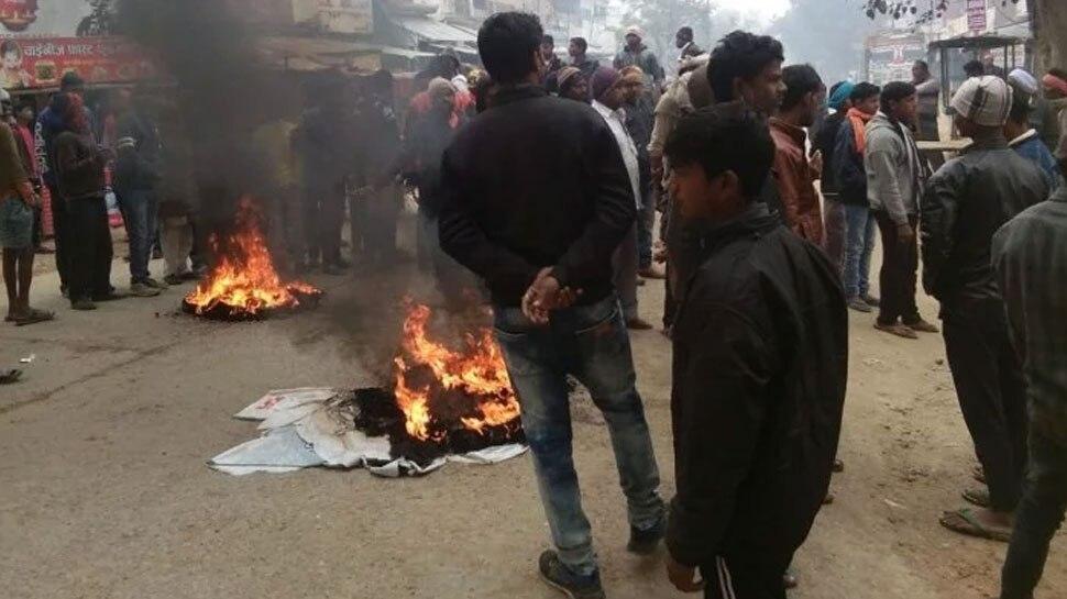 आजमगढ़ में आंबेडकर की प्रतिमा क्षतिग्रस्त होने पर बवाल, गुस्साए लोगों की आगजनी