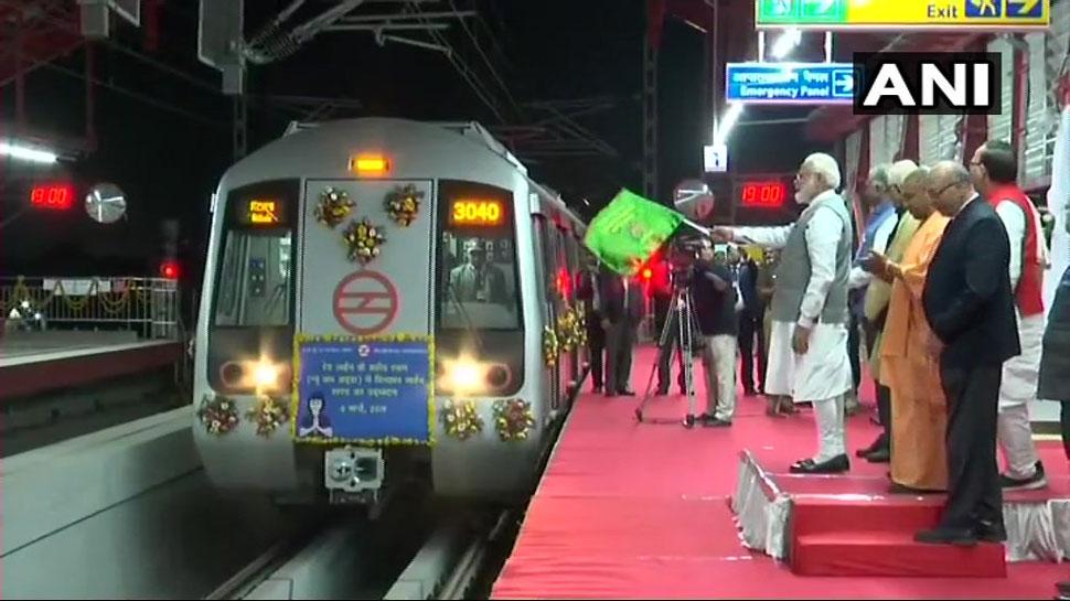 प्रधानमंत्री नरेंद्र मोदी ने मेट्रो की रेडलाइन के गाजियाबाद तक विस्तार का किया उद्घाटन