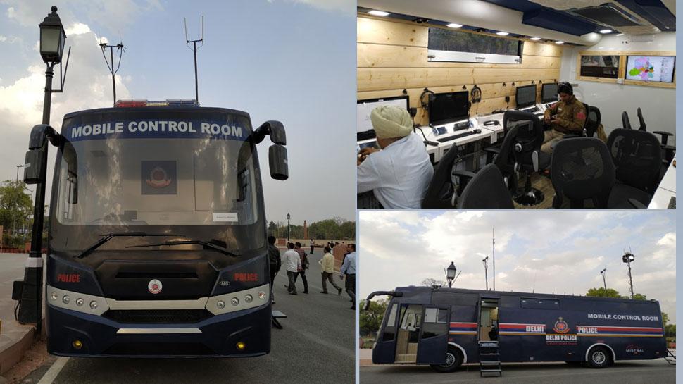 दिल्ली पुलिस को बस की शक्ल में मिला हाईटेक मोबाइल कंट्रोल रूम, देखें तस्वीरें