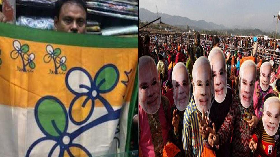 पश्चिम बंगाल में PM मोदी का मुखौटा TMC की साड़ी पर पड़ रहा भारी