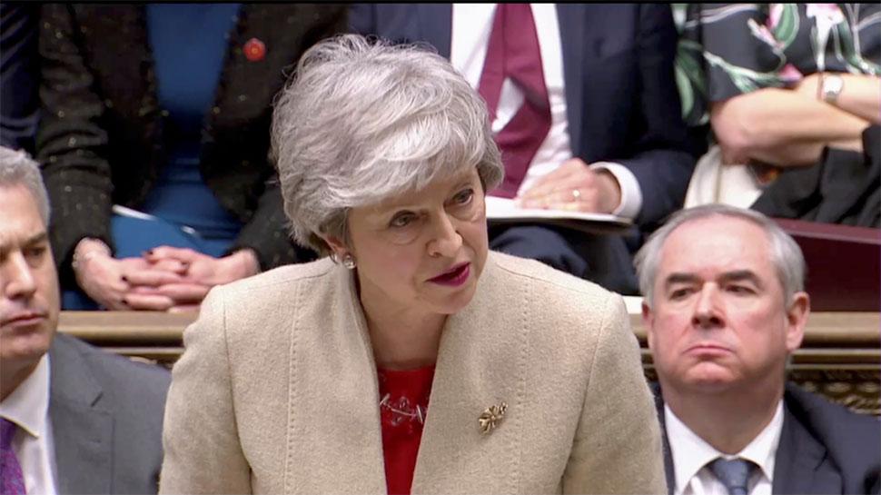 ब्रिटेन के सांसदों ने प्रधानमंत्री थेरेसा मे के ब्रेक्जिट समझौते को संसद में खारिज किया