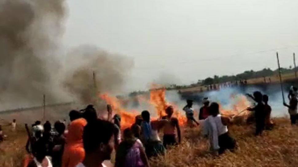 नवादाः आग लगने से सैकड़ो एकड़ गेहूं की फसल जल कर खाक, किसानों का रो-रो कर बुरा हाल