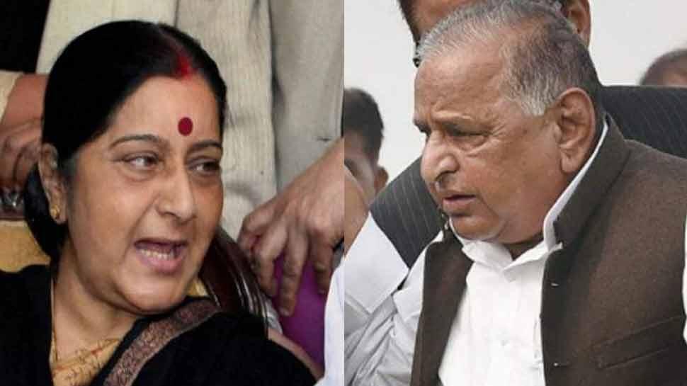 आजम के बयान पर सुषमा ने मुलायम से कहा, 'भाई...आपके सामने द्रौपदी का चीरहरण हो रहा है'