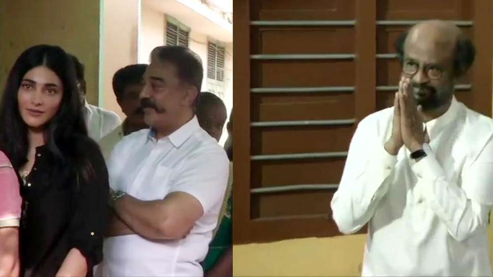 लोकसभा चुनाव 2019 : रजनीकांत-कमल हासन ने चेन्नई में डाला वोट, ये साउथ सुपरस्टार भी आए नजर