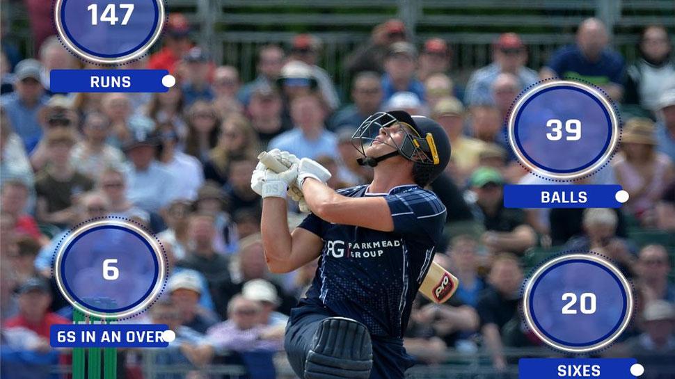 25 गेंद पर शतक, ओवर में 6 छक्के; टी20 में टीम का स्कोर पहुंचाया 300 के पार