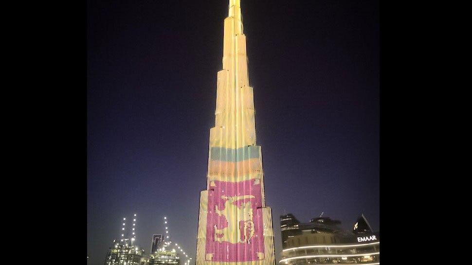 दुबई का बुर्ज खलीफा श्रीलंका के झंडे के रंग में रंगा