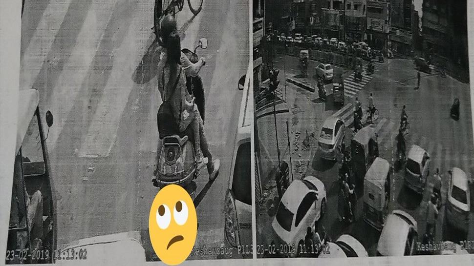 ट्रैफिक रूल्स तोड़ते कैमरे में कैद हुआ कपल, कटा जिंदगी भर का चालान