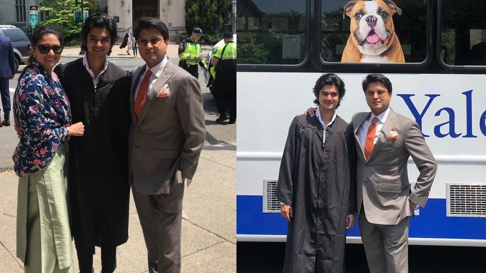 आखिरी चरण के चुनाव छोड़ विदेश पहुंचे सिंधिया, बेटे और पत्नी के साथ शेयर की PHOTOS