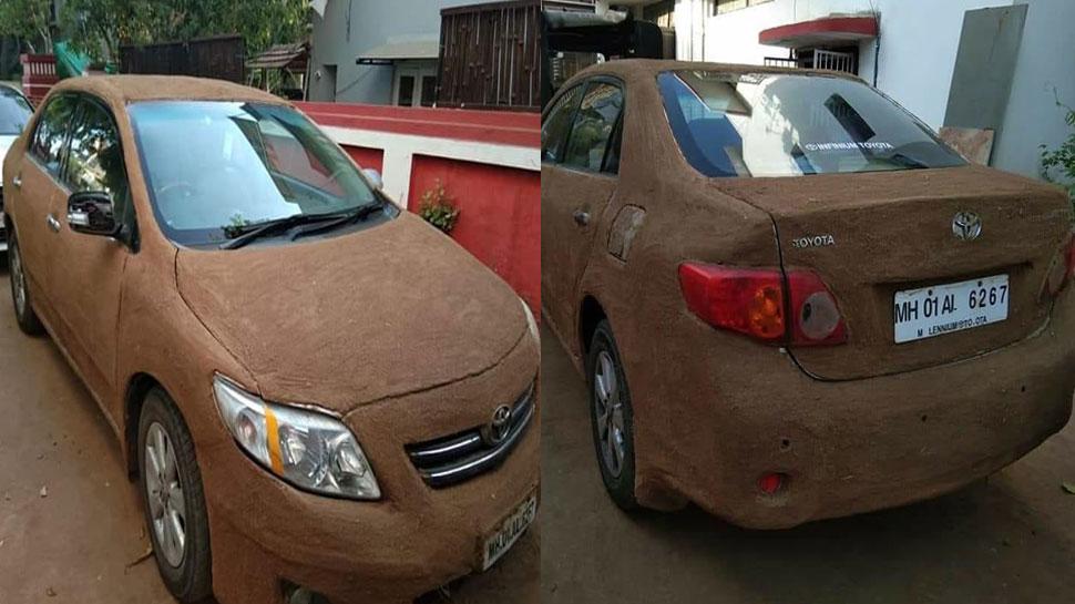 गर्मी में खराब न हो जाए कार का रंग, मालिक ने पोत दिया गाय का गोबर