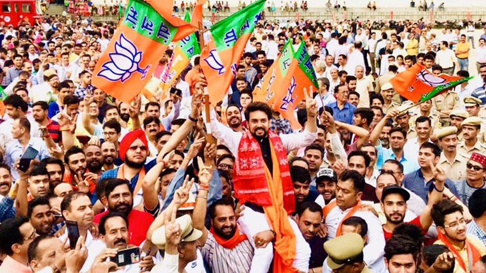 हिमाचल प्रदेश में भगवा ही भगवा, 4 लाख वोटों के अंतर से जीते अनुराग ठाकुर