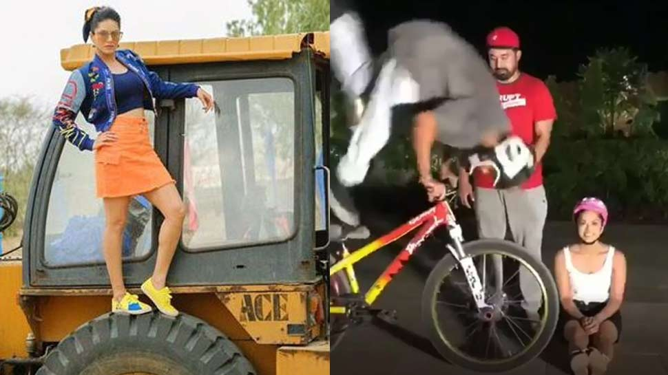 वायरल हुआ सनी लियोनी का साइकिल स्टंट, 16 लाख से ज्यादा लोगों ने लाइक किया VIDEO