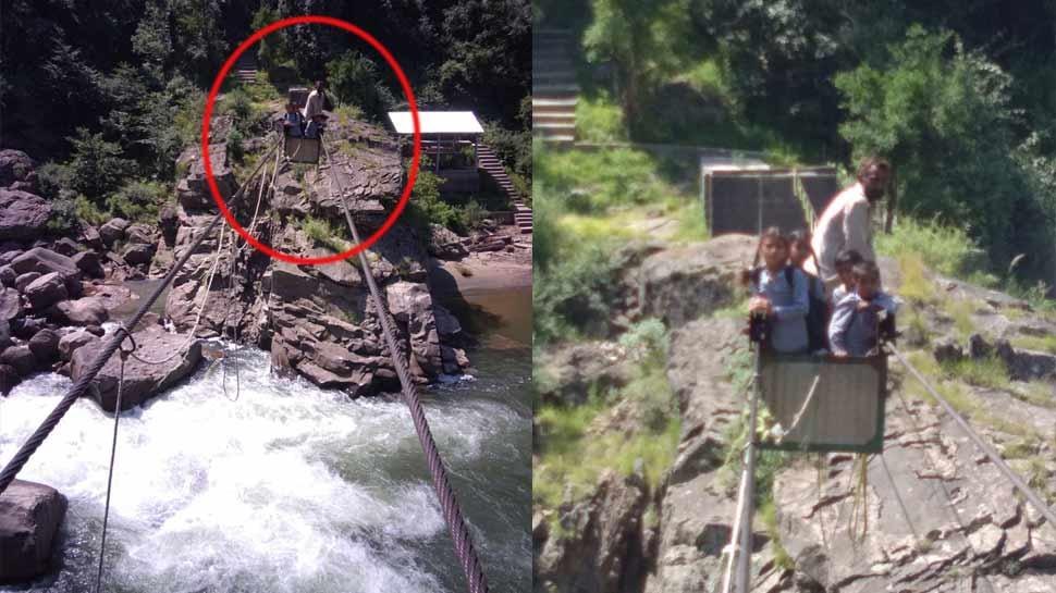 उधमपुरः ट्रॉली की रस्सी टूट जाने से नदी पार कर रहे बच्चे बीच में ही फंसे