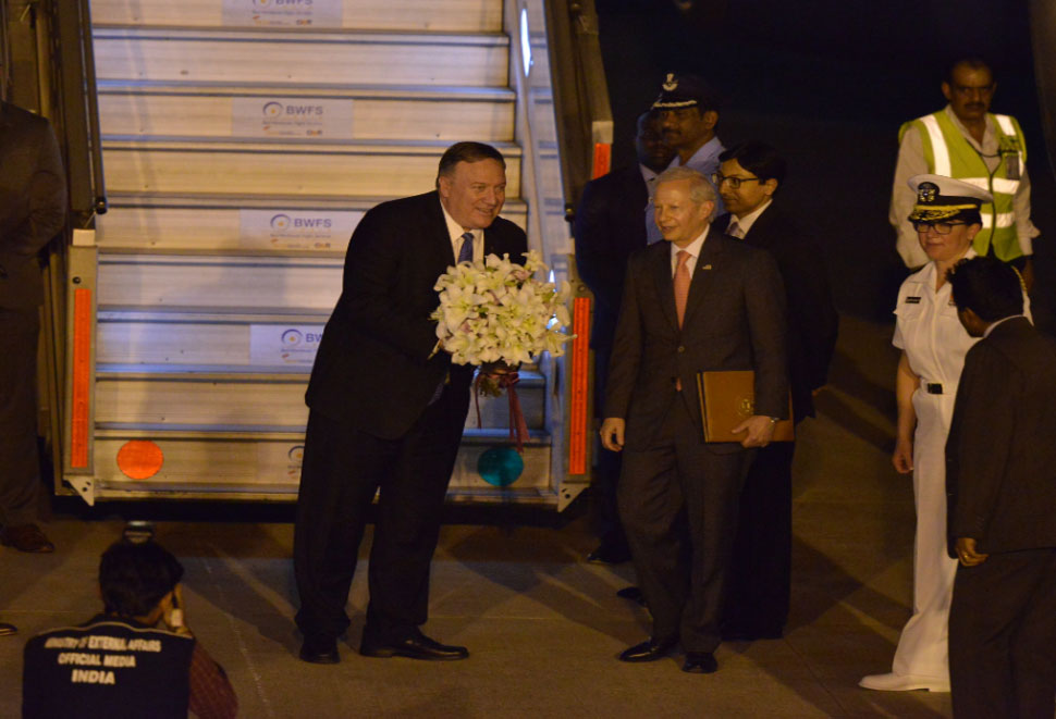 Pompeo has come to India on a three-day trip