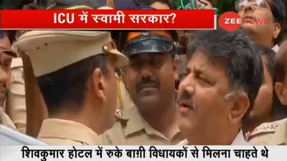 कर्नाटक: डीके शिवकुमार बागी विधायकों से मिलने मुंबई पहुंचे, पुलिस ने रोका
