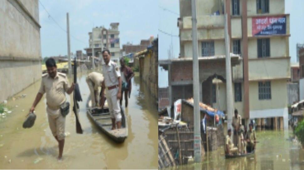बिहार: थाने में घुसा बाढ़ का पानी, आने-जाने के लिए पुलिस का नाव ही सहारा