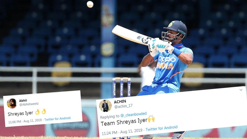 INDvsWI 2nd ODI: श्रेयस अय्यर ने अर्धशतक जड़कर मचाया तहलका, ट्विटर पर मिली तारीफ