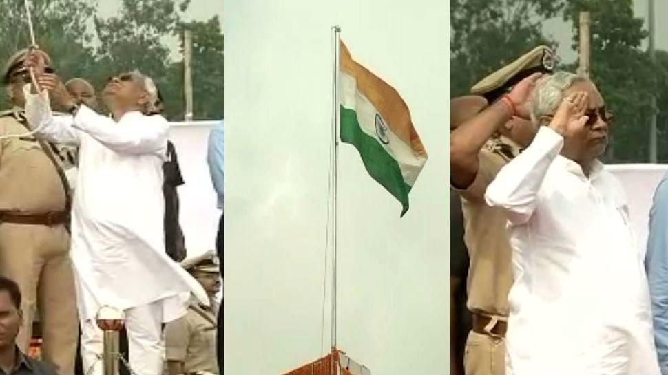 नीतीश कुमार ने गांधी मैदान में फहराया तिरंगा, शराब को लेकर गड़बड़ करने वालों को दी चेतावनी
