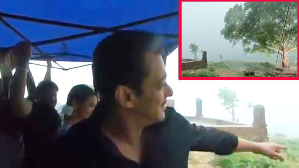 'दबंग 3' के सेट से सामने आया VIDEO, मूसलाधार बारिश के बीच सलमान खान ने की शूटिंग