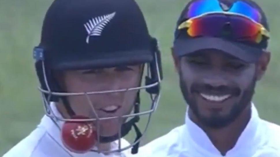 VIDEO: बैट से लगकर हेल्मेट में अटकी गेंद, कैच पकड़ने के लिए तरसते रहे फील्डर