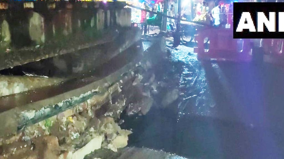 Part of a road in Sector 19 caved