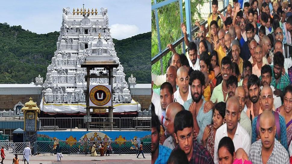 long queue of devotees