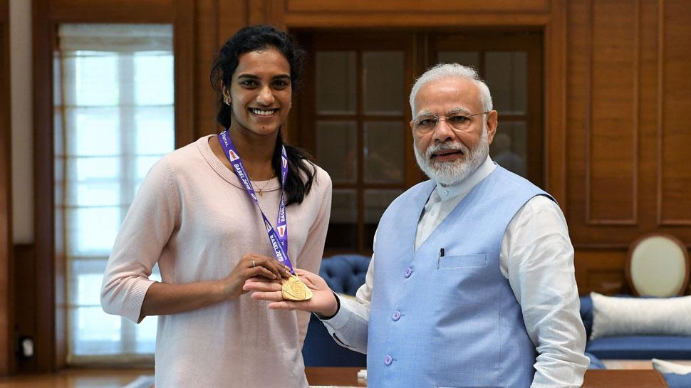 पीएम मोदी ने पीवी सिंधु से की मुलाकात, वर्ल्ड चैंपियन को बताया भारत का गौरव