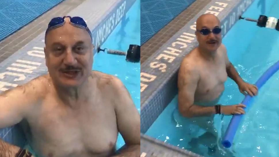 VIDEO: 64 साल की उम्र में अनुपम खेर सीख रहे हैं स्वीमिंग, सुनाया मजेदार किस्सा...
